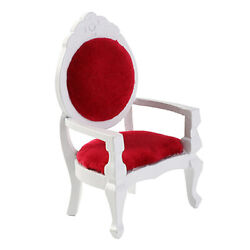 White Wooden Antique Chair For 1/12 Scale Dolls House Room Furnishings Decor