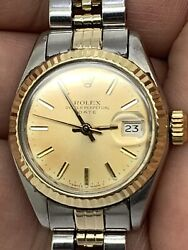 Rolex Ss 18 Kt Perpetual Date Vintage 28 Jewels Women Automatic Watch 26mm