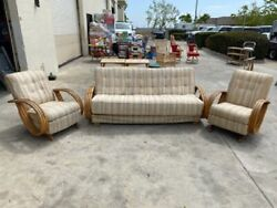 Vtg Bamboo Bentwood 3 Piece Side Chairs And Futon Couch Sleeper Sofa W/ Cushions