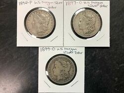 3 United States Genuine Morgan Silver Dollar Lot Mixed Dates All 1890and039s