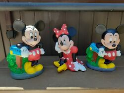 3 Micky And Minnie Mouse Vintage Walt Disney Piggy Banks Great Condition