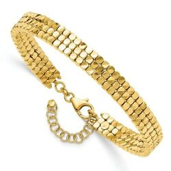Real 14k Yellow Gold Polished Flexible With Safety Chain Bangle Women And Men