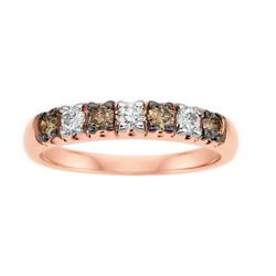 1/2 Ctw Round Brown And White Natural Diamond Eternity Band Ring 14k Rose Gold