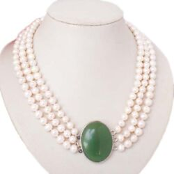 Women Ladies Natural Freshwater Pearls Layered Choker Bib Necklace Jewelry Party