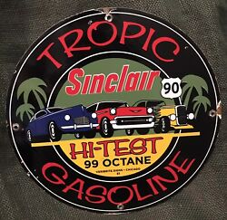 1961 Vintage Style Sinclair Tropic Gasoline Route 90 Porcelain Gas And Oil 12 In