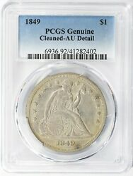 1849 Seated Liberty Silver Dollar 1 Pcgs Genuine Au Details - Beautiful Coin
