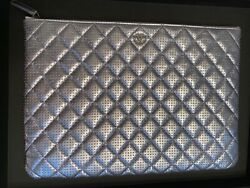 Large O Case Clutch Quilted Metallic Aged Calfskin