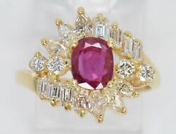 Igi Certified 18k Gold Ruby And Diamond Ring Retail Value 2,820 Rg0016