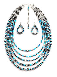 Native American Sterling Silver Handmade Old Look Turquoise Parol Silver Beads