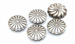 Set Of 5 Vtg Navajo Modernist Traditional Stamped Sterling Silver Button Covers