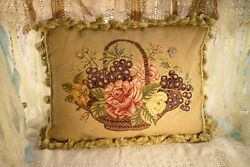 20 Beautiful Fruits Roses Vintage Basket Hand Stitched Needlepoint Throw Pillow