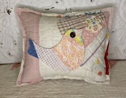 New Handmade Bird Pillow Vintage Feed Sack Quilt Chenille Bedspread Super Cute