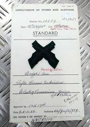 Genuine Vintage British Army Inspectorate Of Stores And Clothing Sample Card 1962