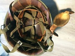 Late Ww2 Us Paratrooper Helmet Shell + Liner, Chin Cup, Sweatband, Nape, Repaint
