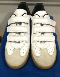 Isabel Marant Beth Leather Sneakers Size 41 Made In Italy Loop Straps Gum Sole