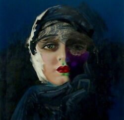 Vintage Rolf Armstrong Copy Illustration Art Pastel Painting Of Woman Lace Veil