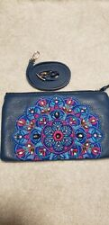 Brighton Journey to India Crossbody Blue Embroidered Leather E5320K retail 195. $90.00