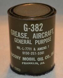 Socony Mobil Oil Grease Aircraft General Purpose G-382 Military Tin Nos Rare