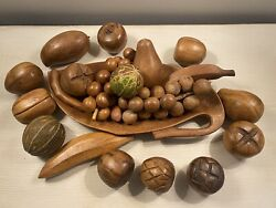 Vintage 23 Pc Wooden Fruit And Bowl Mid Century Modern Decor Monkey Pod Wood Mcm