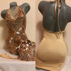 Exotic Dancewear Dresses. Thong. Money Bag. Sequins. Size Small. One Of A Kind.