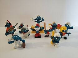 Vintage Smurfs Figures Lot Of 12 - 1970and039s - 1980and039s
