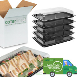 Large Catering Platters/trays And Lids X 5 Reusable And Recyclable Plastic