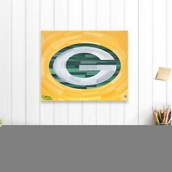 Green Bay Packers 16 X 20 Logo And Gold Abstract Background Gallery Wrapped Giclee