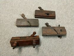 Antique Lot Of 4 Thin Wooden Block Molding Planes Wood Planner