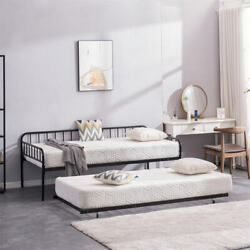 Square Iron Tube Daybed With Trundle For Kids Adults Home Bedroom