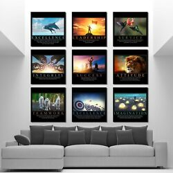 Discounted Set Of 9 Motivation Black Collection Success Wall Work Poster Canvas