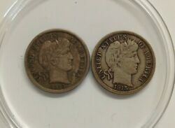 1913-p And 1915-p Barber Silver Ten Cent Dime Us Coins