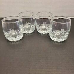 Crown Royal Barware Etched Heavy Scalloped Bottom Rocks Lowball Glasses Set Of 4