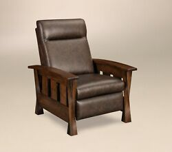 Amish Transitional Recliner Chair Solid Wood Upholstered Leather Lexington