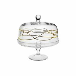 Classic Touch Cake Stand With Dome With Gold Swirl Design