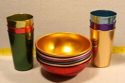 Aluminum Color Ware 6 Tumblers And 6 Bowls - Mid-century