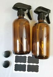 Empty Amber Glass Spray Bottles With Labels 2 Pack - 16oz Refillable H4