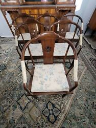 Henredon Solid Wood Asian Barrel Back Dining Chairs Set Of 8 With Cushions