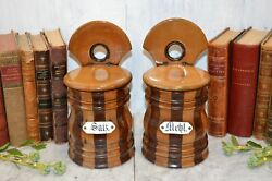 Rare Antique Pair German Sycamore Mahogany Salt Flour Canisters Treen Wood Boxes