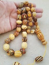Antique Natural Old Pressed Amber Prayer Beads Hand Made Craved Ottomani
