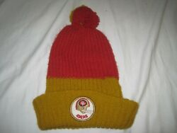 Vintage 1970's San Francisco 49ers Football Knit Winter Beanie Hat Red Gold