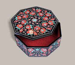Black Marble Jewelry Custom Box Carnelian Marquetry Floral Fine Design Gift Her