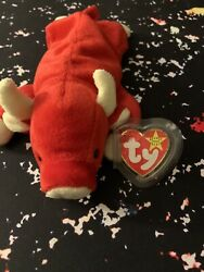 Ty Beanie Baby Red Snort The Bull Plush Toy - 4002 Good Condition