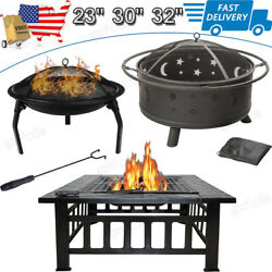 Wood Burning Fire Pit Outdoor Garden Patio Bbq Grill Round/square Stove W/cover