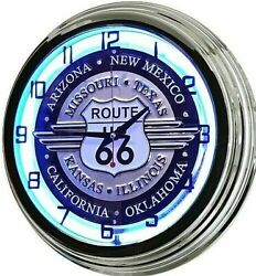 17 Route 66 Sign Blue Neon Retro Wall Clock Bar Game Room Man Cave Garage Rt