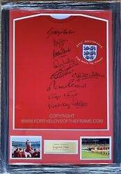 England 1966 Signed By 9 World Cup Winners Framed Football Soccer Shirt Jersey