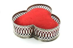 Huge Antique Gorham Late 1800s Red Velvet And Sterling Silver Pin Cushion 345