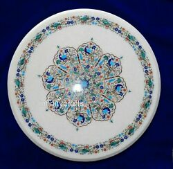 36x36 Inch Marble Dining Table Top With Semi Precious Stone Inlay Art Lawn Table