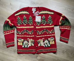 Vtg Women Heirloom Collectables Christmas Cardigan Tree Sweater Size M Red 2001