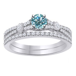 3.5 Ct Moissanite And Cubic Zirconia Bridal Set Ring 14k Gold Over Sterling 925