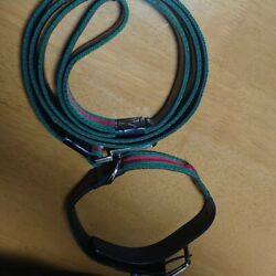 Sherry Line Dog Collar And Leash Set For Medium Dog W/dustbag Used F/s